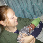 Dr. Eve Bruce with Preemie